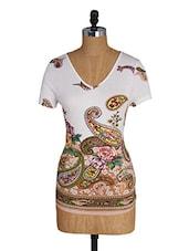 V Neck Short Sleeves Paisley Print Tee - Amari West