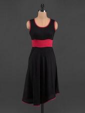 Black & Fuchsia Sleeveless Rayon Kurta - LINGRA
