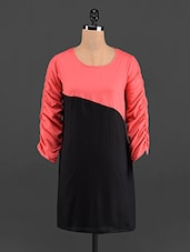 Color Block Round Neck Rayon Kurti - LINGRA