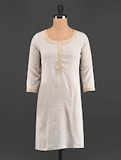 White & Beige Button Cotton Kurti - LINGRA