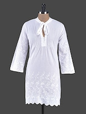White Chikankari Cotton Tunic - Bhama Couture