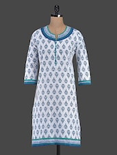 Quarter Sleeve Block Printed Cotton Kurta - Inara Robes