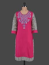 Chevron Print Sleeve Round Neck Rayon Kurta - Inara Robes