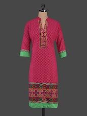 Mandarin Collar Embroidered & Printed Cotton Kurta - Inara Robes