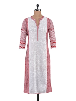 printed two tone cotton kurta