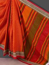 Orange Printed Printed Cotton Saree - Kamal Sarees