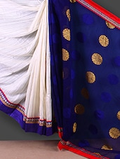 Blue & White Half & Half Saree - FABIONA