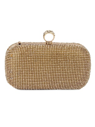 Crystal ring embellished box clutch