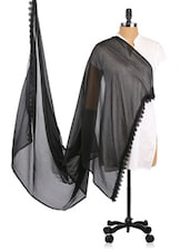 Black Chiffon Dupatta With Lace Borders - Dupatta Bazaar