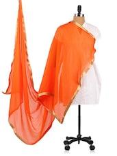 Orange Chiffon Dupatta With Golden Borders - Dupatta Bazaar