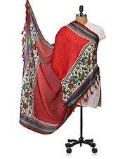 Dark Red Printed Tabby Silk Dupatta - Dupatta Bazaar