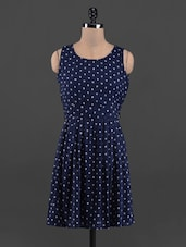 Navy Blue Printed Flared Rayon Dress - Queens