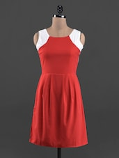 Red & White Sleeveless Poly Crepe Dress - Queens