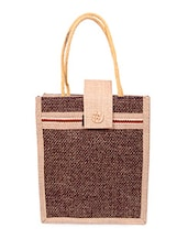 Velcro Flap Zipper Closure Jute Bag - Womaniya