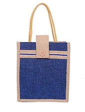 Zipper Closure Velcro Flap Jute Bag - Womaniya
