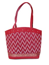 Chevron Pattern Red Jute Tote Bag - Womaniya