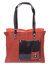 Zipper Closure Patch Pocket Jute Bag - Womaniya