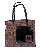 Patch Pocket Zipper Closure Jute Bag - Womaniya