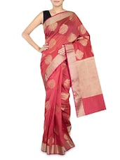 Red Cotton Silk Banarasi Saree - By