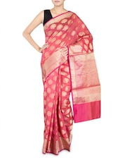 Pink Cotton Silk Banarasi Saree - By