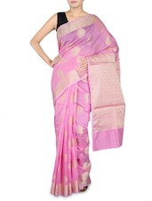 Light Pink Cotton Silk Banarasi Saree - By