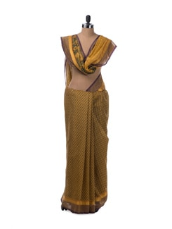 All Over Buti Saree In Mustard And Purple In Cotton - Saboo