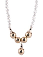 Synthetic Pearl And Metal Beads Necklace - SHIMARRA