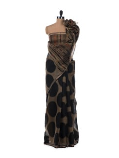 Black And Muddy Brown Polka Dotted Saree In South Cotton - Saboo