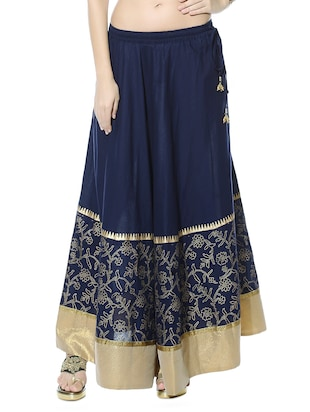 Navy blue printed cotton ethnic skirt
