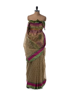 All Over Buti Saree In Deep Beige With Pink And Green Border - Saboo
