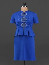 Royal Blue Front Zipper Peplum Dress - Femenino