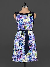 Floral Print Boat Neck Sleeveless Dress - Femenino