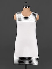 Black & White Striped Cotton Knit Dress - Femenino