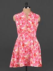 Polka Dots Mandarin Collar Sleeveless Dress - Femenino