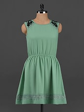 Green Embroidered Fit & Flared Dress - Femenino