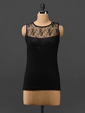 Black Lace Yoke Sleeveless Top - Trend Arrest