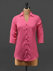 Pink Button-up Sleeves Crepe Shirt - Trend Arrest