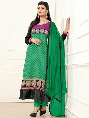 green poly georgette unstitched suit