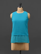 Blue Layered Sleeveless Georgette Top - Trend Arrest
