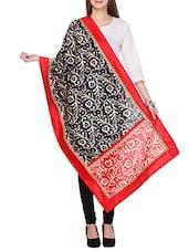 Black, Red, White Dupion Silk Printed  Dupatta - By
