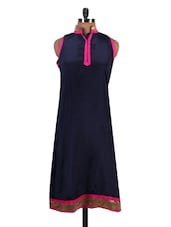 Navy Blue Long A-Line Cotton Kurta - By