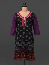 Quarter Sleeve Block Printed Cotton Kurta - MOTIF