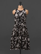 Floral Print Round Neck Sleeveless Chiffon Dress - MOTIF