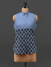 Sleeveless Chevron Print & Printed Cotton Shirt - MOTIF