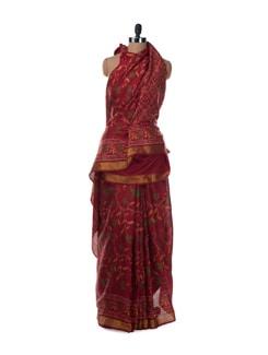 Ikat Inspired Single Ikat Rajkot Patola Saree In Deep Red - Saboo