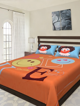 LOVE Smiley Printed Double Bedsheet Set