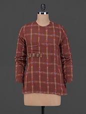 Brown Ikat & Checks Cotton Top - BIAS