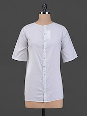 Light Grey Front Buttoned Cotton Top - BIAS