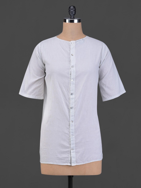 Light Grey Front Buttoned Cotton Top - BIAS