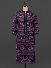 Purple & Black Warli Printed Front Zip Kurta - DeDe'S